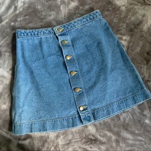 American Apparel Jean Button Up Skirt